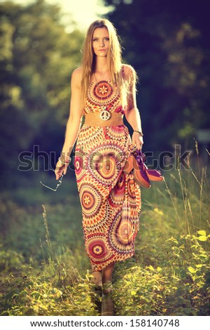 attractive girl in seventies style - stock photo