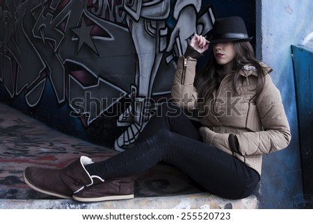 attractive girl in street fashion