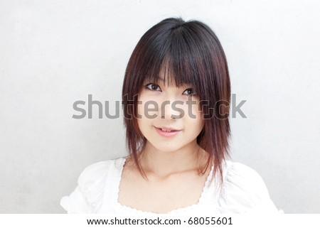 attractive girl introducing something - stock photo