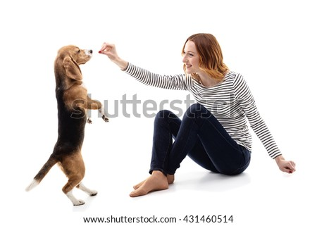 Attractive girl is taming a puppy - stock photo