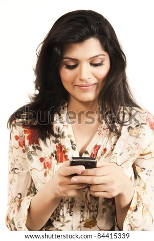 Attractive girl receiving a message - stock photo
