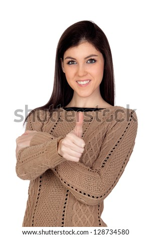 Attractive girl saying OK isolated on a white background - stock photo