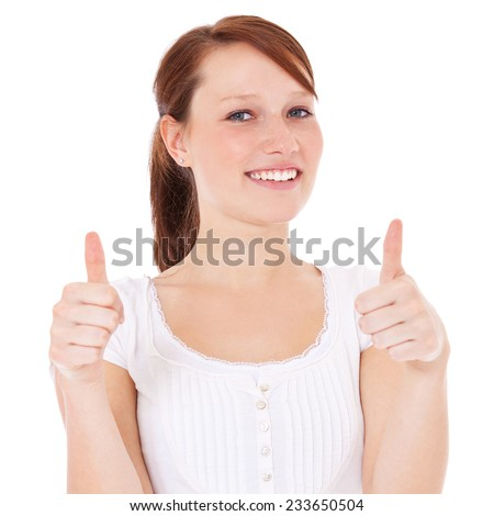 Attractive girl showing thumbs up. All on white background. - stock photo