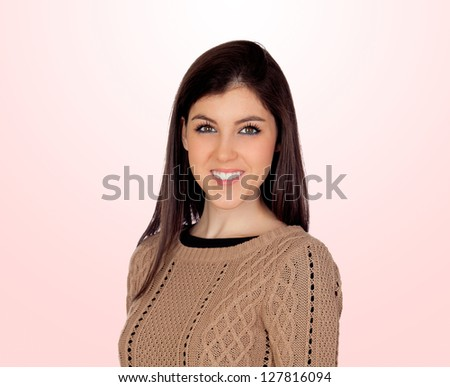 Attractive girl smiling isolated on a pink background - stock photo