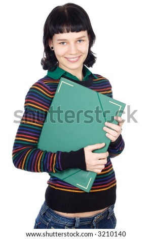 attractive girl student a over white background