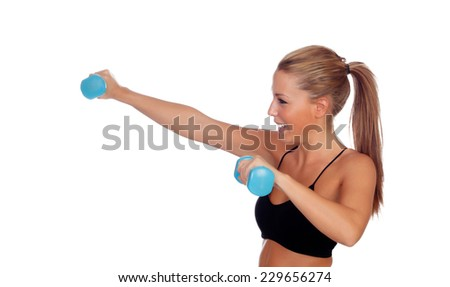 Attractive girl training with dumbbells isolated on a white background