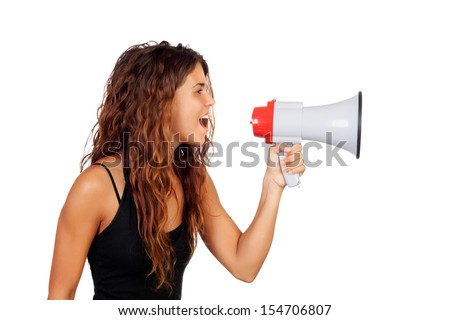 Attractive girl with a megaphone isolated on a white background