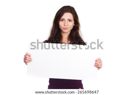 attractive girl with blank ad
