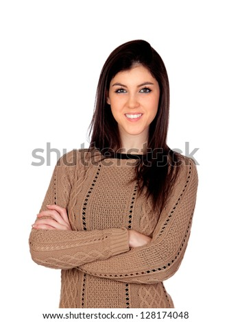Attractive girl with crossed arms isolated on white background - stock photo