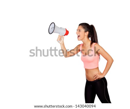 Attractive girl with fitness clothing and megaphone isolated on a white background - stock photo