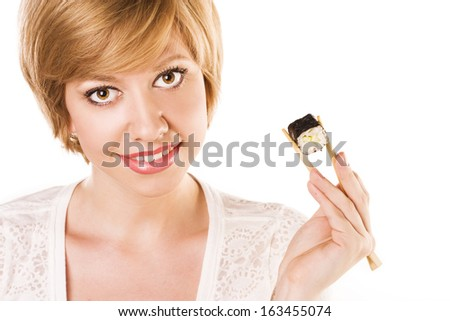 attractive girl with sushi and roll
