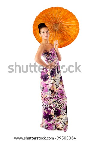 Attractive girl with umbrella - stock photo