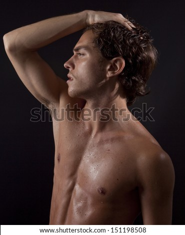 attractive guy without clothes - stock photo
