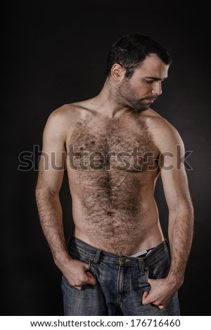 Attractive Hairy Chest Man - stock photo