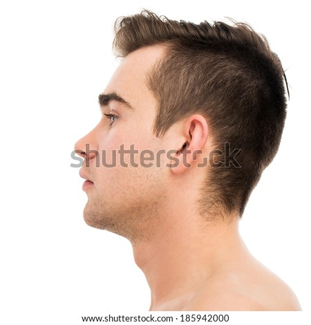 Attractive, handsome man on a white background - stock photo