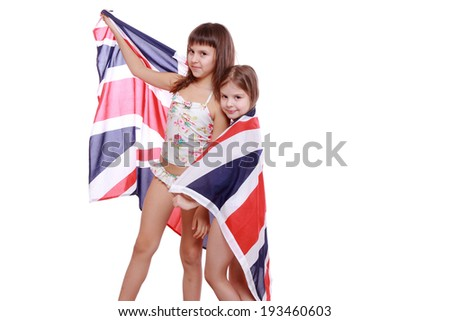 Attractive happy kids with Great Britain flag on summer vacation on Holiday theme