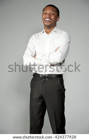 Attractive Happy Professional Young Black Male - stock photo