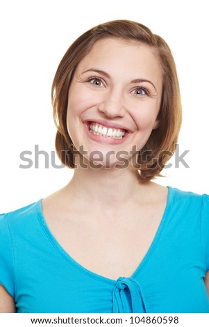 Attractive happy woman grining into the camera - stock photo