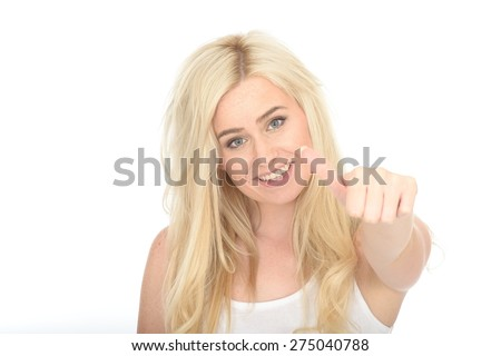 Attractive Happy Young Woman in Her Twenties Looking Pleased Giving a Thumbs Up Hand Sign - stock photo