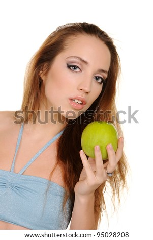 attractive healthy girl with apple isolated on a white background - stock photo