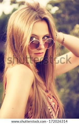 attractive hippie girl - stock photo