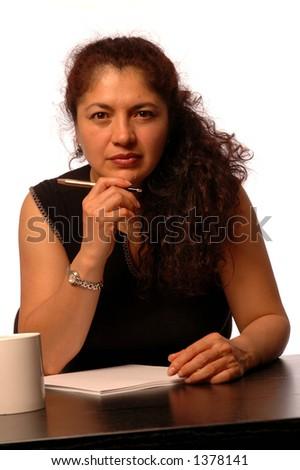 attractive   hispanic business woman - stock photo