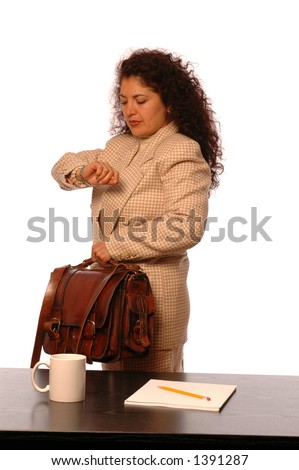 attractive hispanic traveling executive with quality leather bag - stock photo