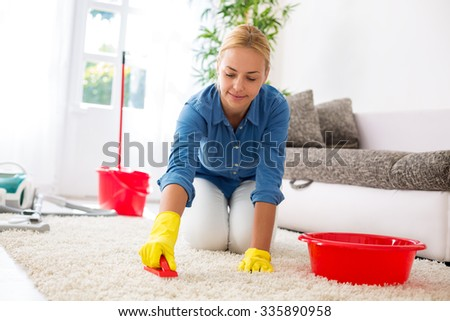 Attractive housewife cleaning carpet with brush and doing housework - stock photo