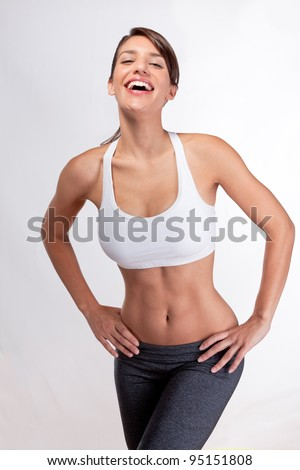 Attractive in shape woman laughing