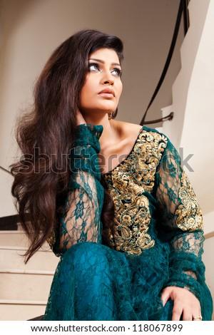attractive indian girl beautiful long hair stock photo