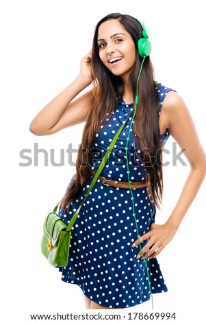 Attractive Indian woman fashion model white background - stock photo