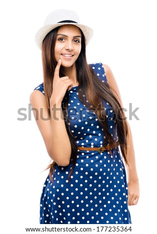 attractive Indian woman retro sexy hipster - stock photo