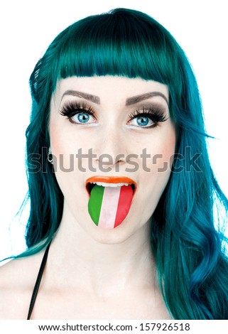 attractive interesting looking woman with tongue in italian flag colors - stock photo