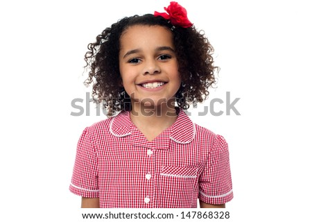Attractive kid with a warm smile - stock photo