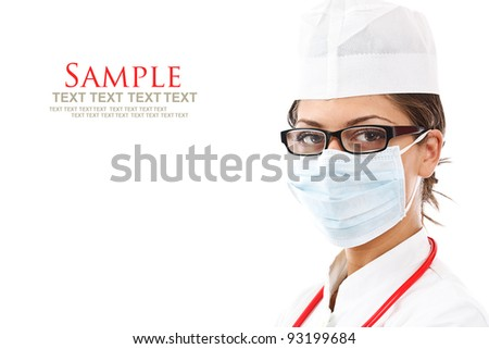 Attractive lady doctor with mask isolated - stock photo
