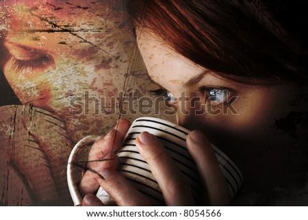 Attractive lady drinking hot beverage. Short DOF. Sharp striking eyes. Light background - stock photo