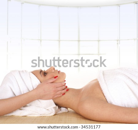 Attractive lady getting spa treatment