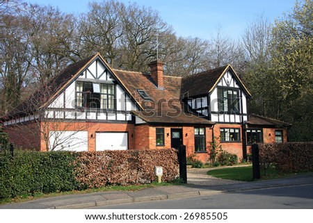 Attractive large family home backing onto woodland - stock photo