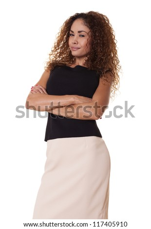 Attractive latin woman isolated from white background.