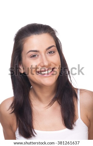 Attractive laughing woman on isolated white