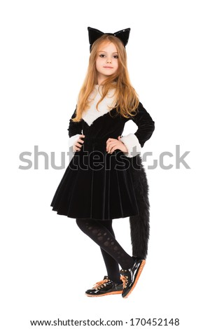 Attractive little girl dressed in black catsuit. Isolated on white - stock photo