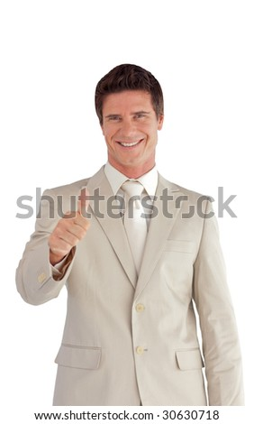 Attractive looking Businessman with one Thumb up