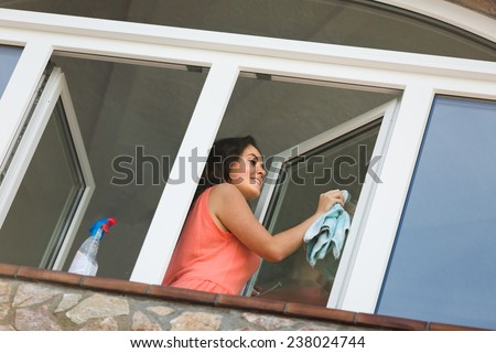 Attractive maid cleaning windows with rag and sprayer - stock photo
