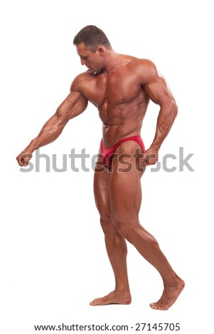 Attractive male body builder, demonstrating contest pose, isolated on white background - stock photo