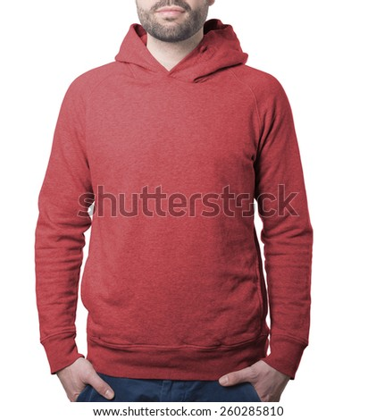 attractive male model clothing template of red hoody isolated on white with clipping path both for background and garment - stock photo