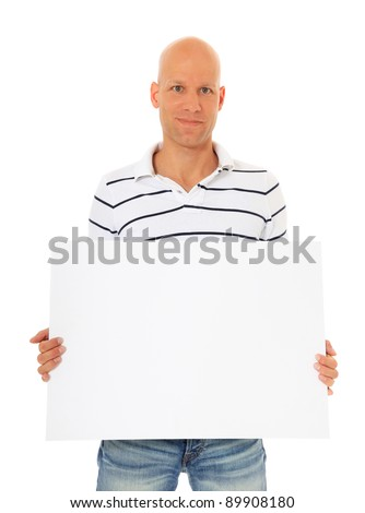 Attractive man holding blank white sign. All on white background. - stock photo