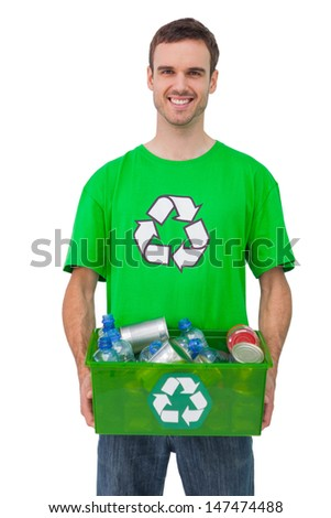 Attractive man holding box of recyclables on white background - stock photo