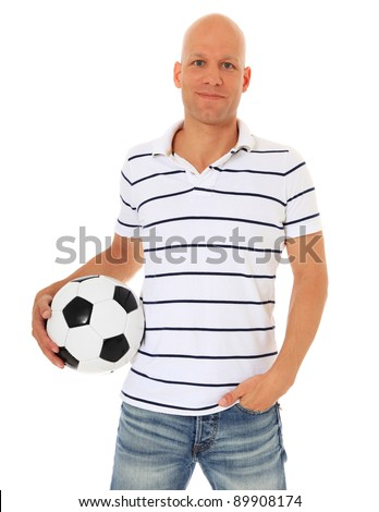 Attractive man holding soccer ball. All on white background. - stock photo