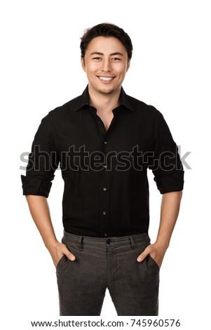 Attractive Man Black Shirt Grey Pants Stock Photo 745960576 ...