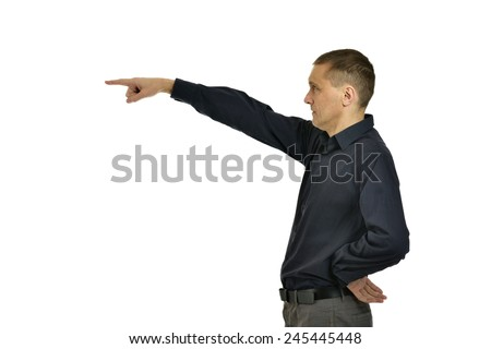 Attractive man pointing on white background